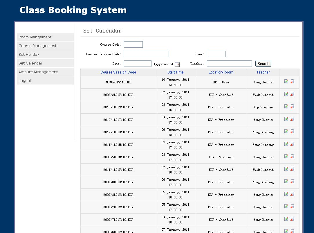 Class Booking System